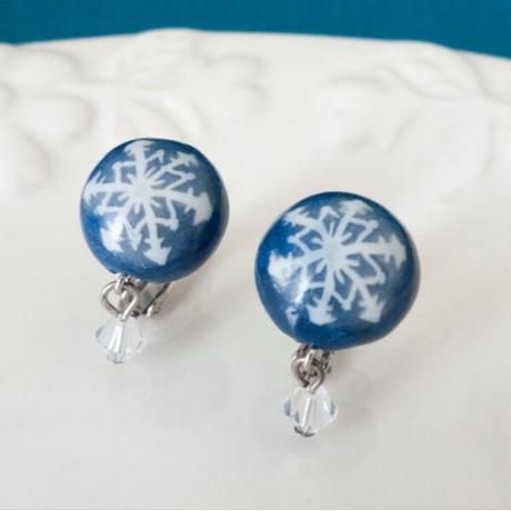 【 雪のかけら 】結晶模様の半球イヤリング no.534E