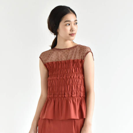 【OUTLET SALE】010367 / ドット×シャーリングブラウス