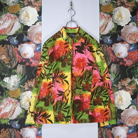 総柄 デザインジャケット 植物柄