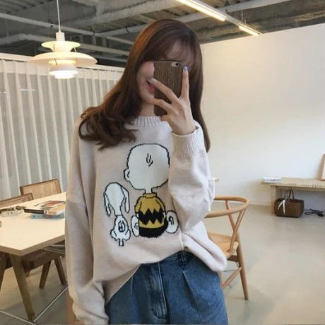 Snoopy 輸入雑貨 スヌーピー  秋冬セーター ニットプルオーバー 4色展開 ホワイト