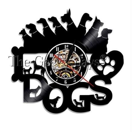輸入雑貨 I LOVE ドッグ 犬 Dog 壁アート ヴィンテージ 30cm レコード盤 壁掛け時計 人気  インテリア ディスプレイ 1