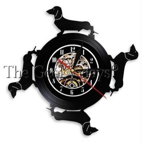 輸入雑貨 ダックスフンド 犬 ヴィンテージ 30cm レコード盤 壁掛け時計 アニメ 映画 人気  インテリア ディスプレイ 3種類展開 2