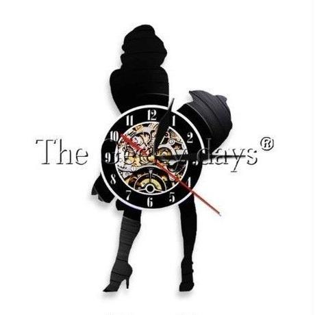 輸入時計 マリリンモンロー  掛け時計 壁アート ヴィンテージ 30cm レコード盤 人気 インテリア ディスプレイ  27