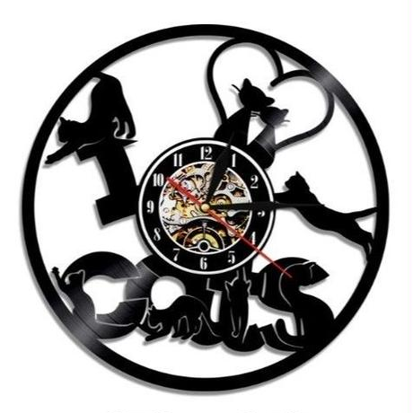 輸入雑貨 Ⅰ♡CATS 猫 ネコ キャット 壁アート ヴィンテージ 30cm レコード盤 壁掛け時計 人気  インテリア ディスプレイ  20