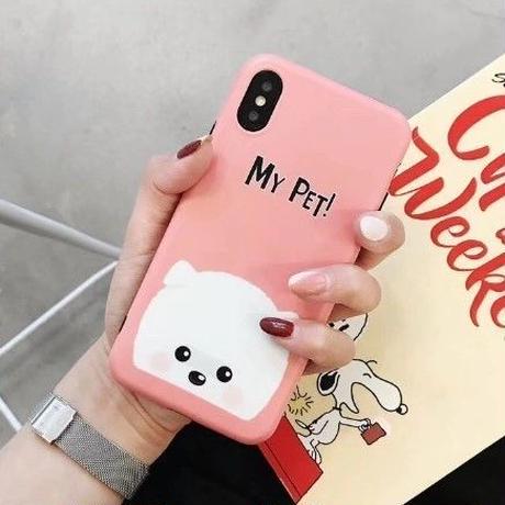 輸入雑貨 Myペット Dog  犬 ケータイカバー iphone XR XsMAX 最大種類 iphone 8 7 6 6 s-plus ローズレッド