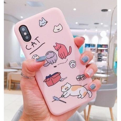 輸入雑貨 ネコ cat 猫ケータイカバー  iphone XR XsMAX 最大種類 iphone 8 7 6 6 s-plus にゃんピンク