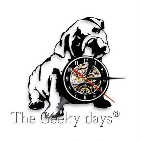 輸入雑貨 ブルドッグ 犬 ドッグ Dog 壁アート ヴィンテージ 30cm レコード盤 壁掛け時計 人気  インテリア ディスプレイ