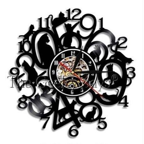 輸入雑貨 黒猫 ネコ 猫 キャット 壁アート ヴィンテージ 30cm レコード盤 壁掛け時計 人気  インテリア ディスプレイ 13種類展開 1