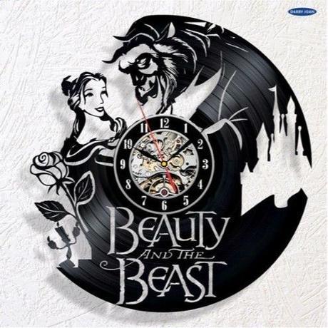 輸入雑貨 美女と野獣 30cm レコード盤 壁掛け時計 アニメ 映画 人気  インテリア ディスプレイ 8種類展開 8
