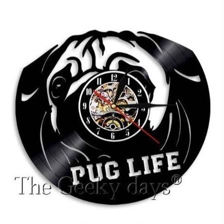 輸入雑貨 パグドッグ 犬 Dog 壁アート ヴィンテージ 30cm レコード盤 壁掛け時計 人気  インテリア ディスプレイ 5
