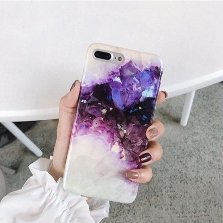 輸入雑貨 高級夢クリスタル デザインケース 最大種類 iphone 8 7 6 6 s-plus iPhoneケース パープルクリスタル