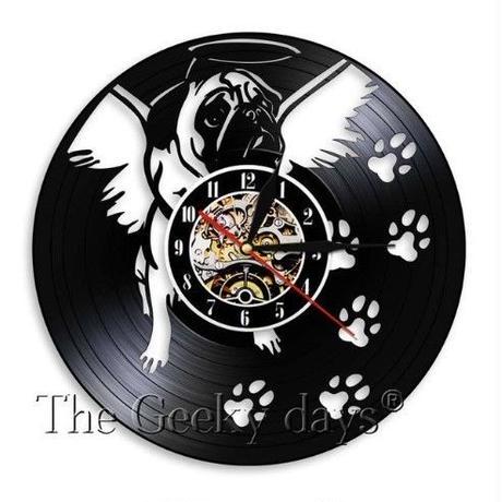 輸入雑貨 パグドッグ 犬 Dog 壁アート ヴィンテージ 30cm レコード盤 壁掛け時計 人気  インテリア ディスプレイ 2