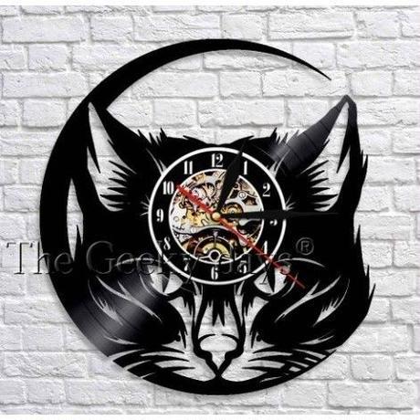 輸入雑貨 黒猫 ネコ 猫 キャット 壁アート ヴィンテージ 30cm レコード盤 壁掛け時計 人気  インテリア ディスプレイ 8種類展開 10