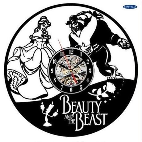 輸入雑貨 美女と野獣 30cm レコード盤 壁掛け時計 アニメ 映画 人気  インテリア ディスプレイ 8種類展開 5