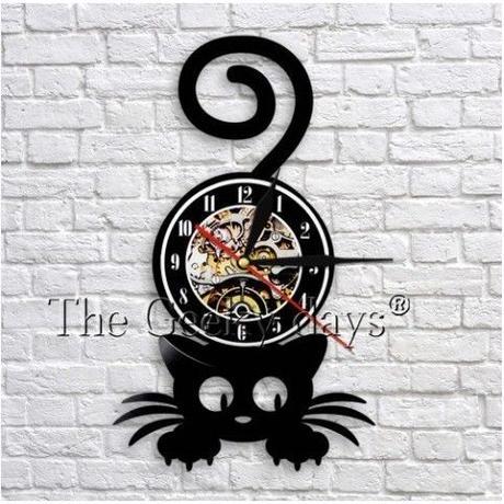 輸入雑貨 黒猫 ネコ 猫 キャット 壁アート ヴィンテージ 30cm レコード盤 壁掛け時計 人気  インテリア ディスプレイ 8種類展開 5