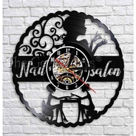 輸入雑貨 ネイリスト シリーズ ネイル 壁アート ヴィンテージ 30cm レコード盤 壁掛け時計 人気  インテリア ディスプレイ 10種類展開 7