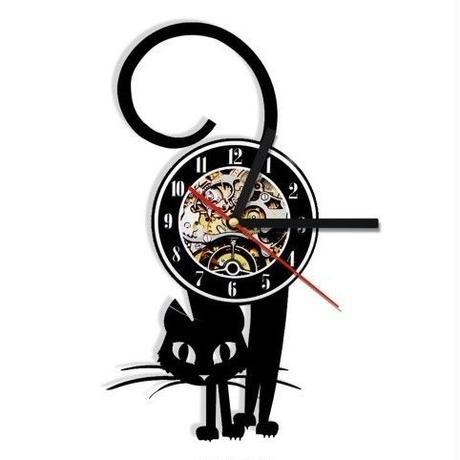 輸入雑貨 スマート猫 ネコ 猫 キャット 壁アート ヴィンテージ 30cm レコード盤 壁掛け時計 人気  インテリア ディスプレイ  15