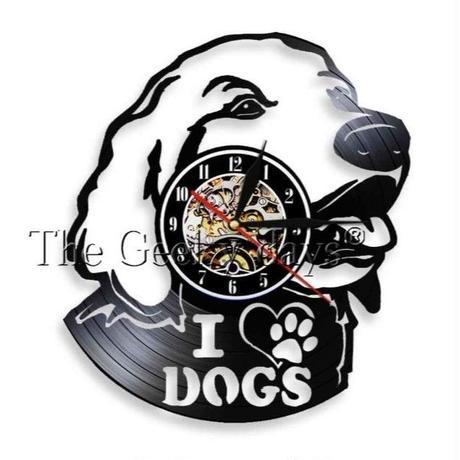 輸入雑貨 I LOVE ドッグ 犬 Dog 壁アート ヴィンテージ 30cm レコード盤 壁掛け時計 人気  インテリア ディスプレイ 2