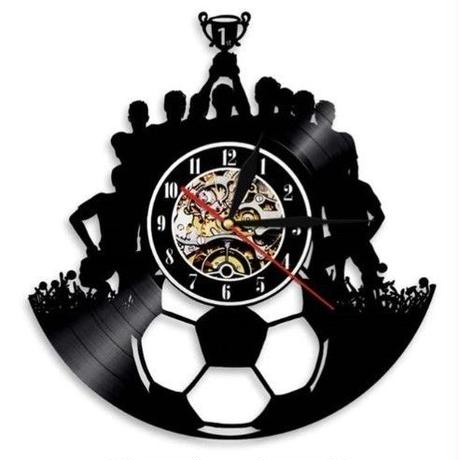 輸入雑貨 サッカー チーム 壁アート ヴィンテージ 30cm レコード盤 壁掛け時計 アニメ 映画 人気  インテリア ディスプレイ 6種類展開 6