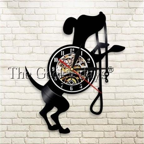 輸入雑貨 ワンコ 犬 ドッグ Dog 壁アート ヴィンテージ 30cm レコード盤 壁掛け時計 人気  インテリア ディスプレイ