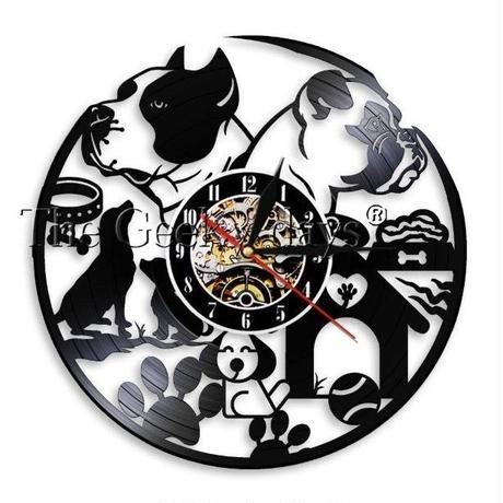 輸入雑貨 I LOVE ドッグ 犬 Dog 壁アート ヴィンテージ 30cm レコード盤 壁掛け時計 人気  インテリア ディスプレイ 4