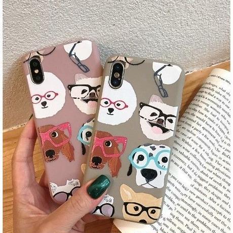 輸入雑貨 メガネ Dog  犬 ケータイカバー iphone XR XsMAX 最大種類 iphone 8 7 6 6 s-plus メガネ ドッグ