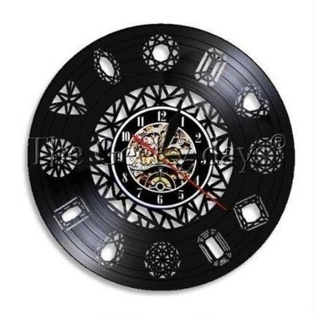 輸入時計 ミニマリスト ダイヤモンド 掛け時計 壁アート ヴィンテージ 30cm レコード盤 人気 インテリア ディスプレイ  30