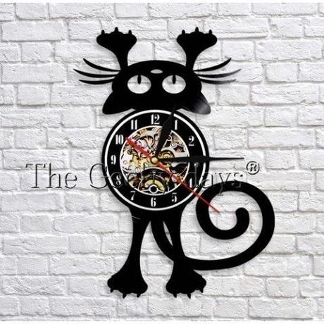 輸入雑貨 黒猫 ネコ 猫 キャット 壁アート ヴィンテージ 30cm レコード盤 壁掛け時計 人気  インテリア ディスプレイ 8種類展開 6