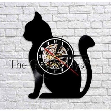 輸入雑貨 黒猫 ネコ 猫 キャット 壁アート ヴィンテージ 30cm レコード盤 壁掛け時計 人気  インテリア ディスプレイ 8種類展開 7