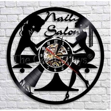 輸入雑貨 ネイリスト シリーズ ネイル 壁アート ヴィンテージ 30cm レコード盤 壁掛け時計 人気  インテリア ディスプレイ 10種類展開 1