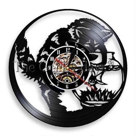 輸入雑貨 フィッシュ&キャット 猫 ネコ 金魚 壁アート ヴィンテージ 30cm レコード盤 壁掛け時計 人気  インテリア ディスプレイ  21