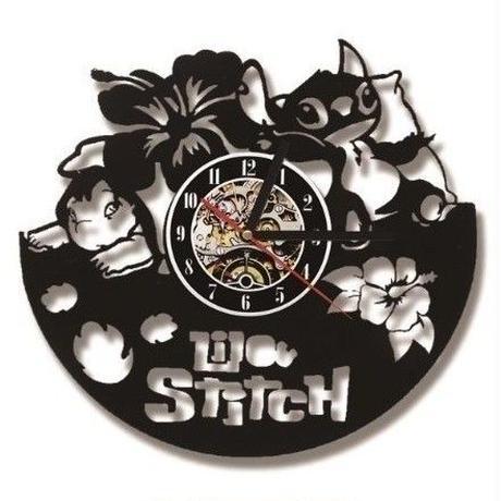輸入雑貨 リロ&スティッチ 30cm レコード盤 壁掛け時計 アニメ 映画 人気  インテリア ディスプレイ 2種類展開 1