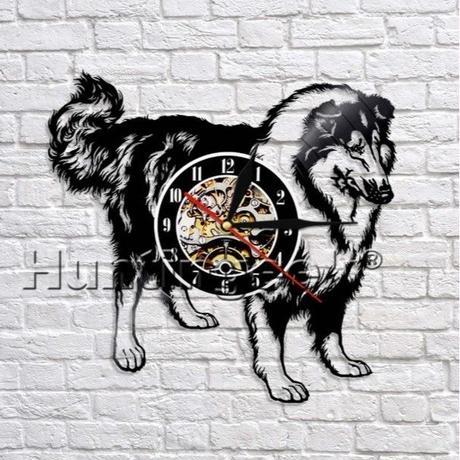 輸入雑貨 コリー 犬 ドッグ Dog 壁アート ヴィンテージ 30cm レコード盤 壁掛け時計 人気  インテリア ディスプレイ 2