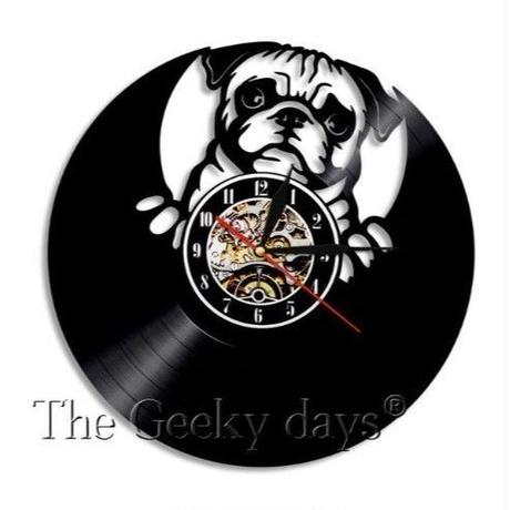 輸入雑貨 パグドッグ 犬 Dog 壁アート ヴィンテージ 30cm レコード盤 壁掛け時計 人気  インテリア ディスプレイ 3