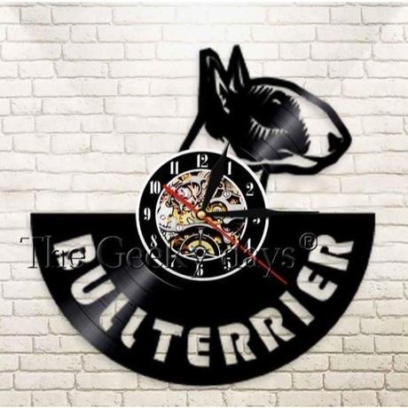 輸入雑貨 ブルテリア 犬 ドッグ Dog 壁アート ヴィンテージ 30cm レコード盤 壁掛け時計 人気  インテリア ディスプレイ