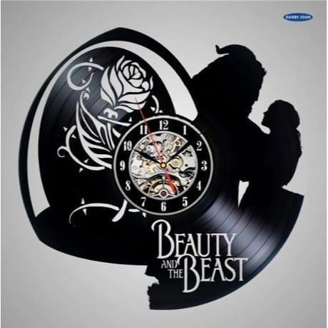 輸入雑貨 美女と野獣 30cm レコード盤 壁掛け時計 アニメ 映画 人気  インテリア ディスプレイ 8種類展開 3