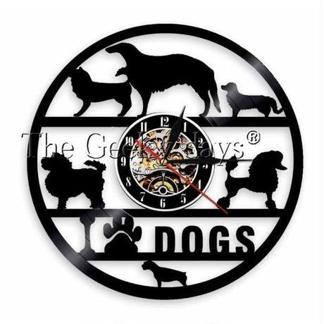 輸入雑貨 I LOVE ドッグ 犬 Dog 壁アート ヴィンテージ 30cm レコード盤 壁掛け時計 人気  インテリア ディスプレイ 5
