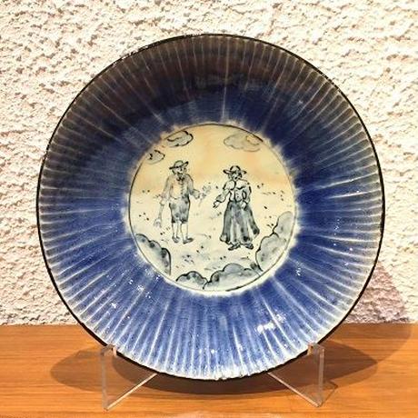 八十島窯 しのぎルリ釉盛鉢
