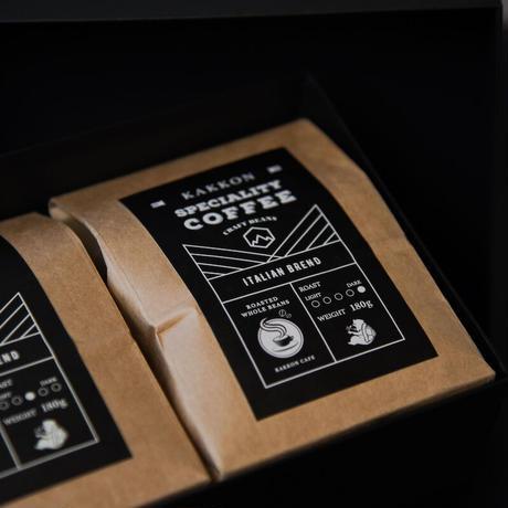 スペシャリティーコーヒー ギフトボックス 180g×2(プレミアムブレンド・イタリアンローストブレンド各1袋入り)