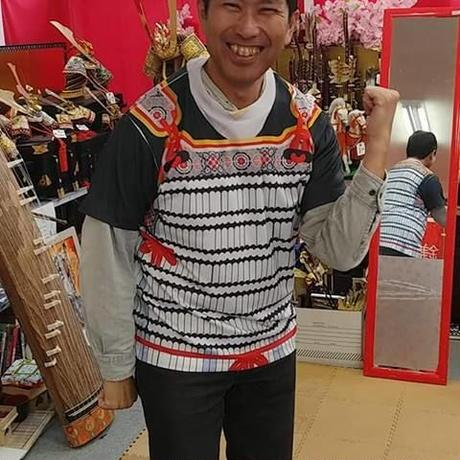 【予約販売】鎧風Tシャツ 白絲縅の胴丸タイプ -ドライTシャツ-