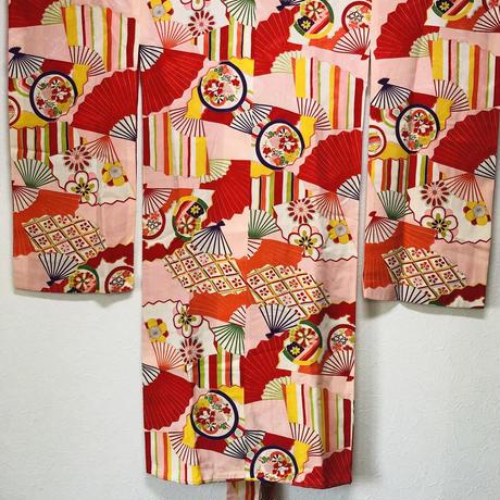 材料用 アンティーク紋錦紗女児三っ身着物(1週間以内に出荷)