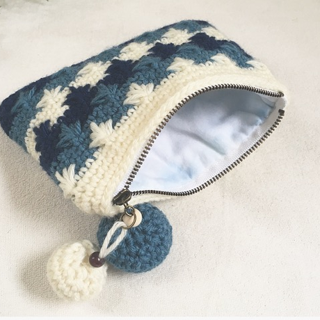 knit pouch❃ホワイト