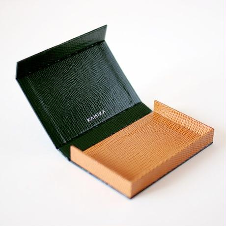KAMIKA(カミカ) 名刺入れ box card case(green-camel)