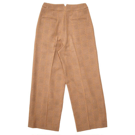 2103PT03 GLENCHECK WIDE STRAIGHT TROUSERS / beige