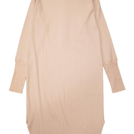2103OP03 SHNINY WIDE RIB TWO-WAYS DESIGN HENRY-NECK DRESS