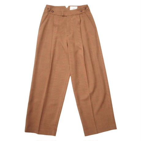2103PT03 GLENCHECK WIDE STRAIGHT TROUSERS / brown