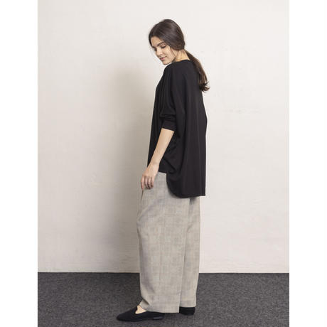 2103PT03 GLENCHECK WIDE STRAIGHT TROUSERS / grey