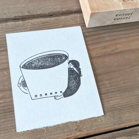 cotori cotori|【文字入れ可】ゴム版はんこ コーヒーと女の子