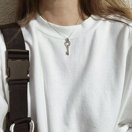 *Limited  Silver Heart Key Tattoo Top  (S)× O Necklace SET