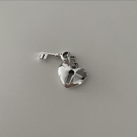Silver Heart&key  Top